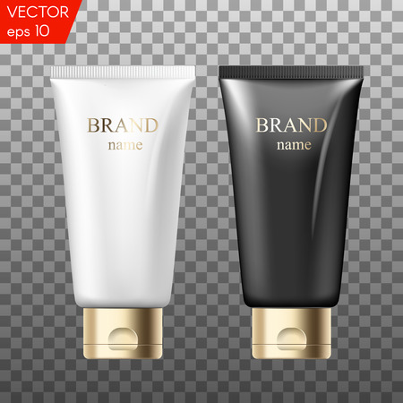Realistic plastic tubes for cosmetic products. Beauty set of blank template containers for: gel of skincare, hand care cream, bb, face mask or foundation. White, black and golden colors