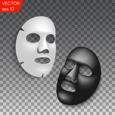 Realistic black and white facial cosmetic sheet mask on transparent background