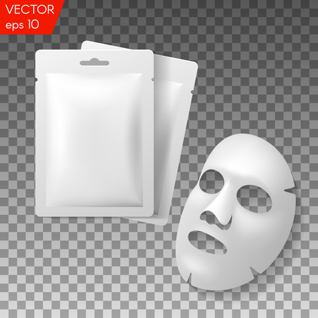 Facial Mask Cosmetics Packaging. Package design for face mask on transparent background Vettoriali