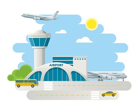 Edificio del aeropuerto y aviones en la pista, taxi Llegadas en el aeropuerto en el fondo del paisaje natural. Ilustración de vector de diseño plano Foto de archivo - 80182741