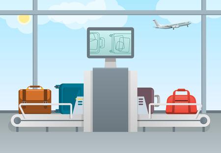 コンベア ベルト交通安全空港荷物スキャナー コントロール パッドと画面。荷物検査の概念。ターミナルの手荷物セキュリティ チェック。 写真素材 - 80113818