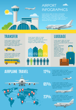 Air travel infographic with airport building, plane, including chart, icons and graphic elements. Flat style design. Vector illustration. Vettoriali