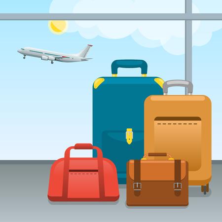 手荷物、スーツケースやバッグの空港で。大きなパック チェックインし、航空機による旅行のための荷物を手します。旅行と観光の概念。