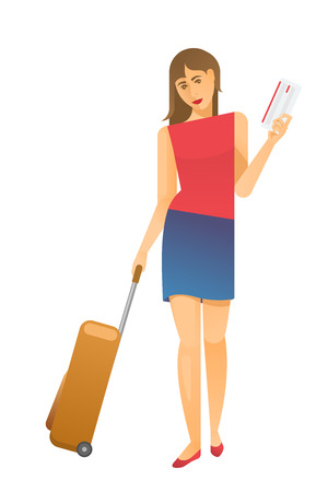 Young woman airplane passenger walking with luggage suitcase and ticket on white background. Vacations, travel and active lifestyle concept.