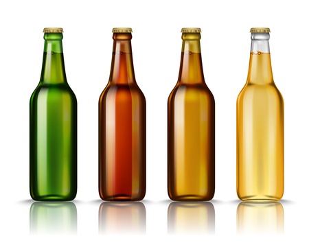 Realistic Green, brown, yellow and white glass beer bottles with drink isolated on a white background. Vector illustration. Mock up template blank for product packing advertisement. Illustration