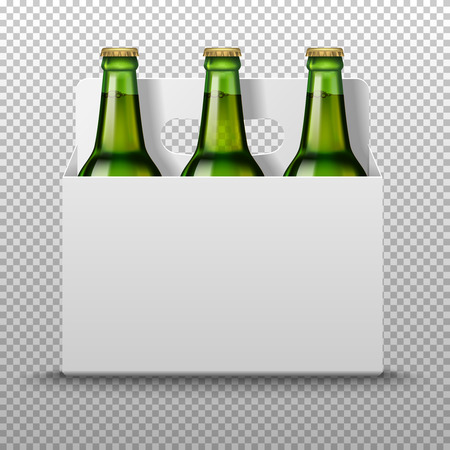 Realistic detailed green glass beer bottles with drink in white packaging isolated on a trasparent background. Vector illustration. Mock up template blank for product packing advertisement.