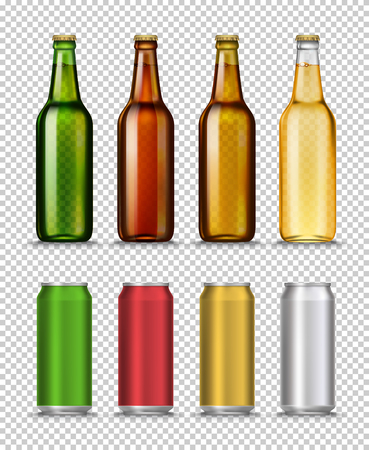 Realistic Green, brown, yellow and semipermeable glass beer bottles and can with drink isolated on a white background. Vector illustration. Template blank for product packing advertisement.