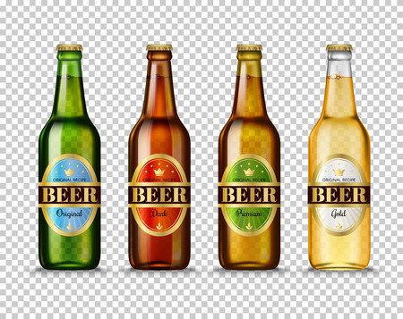 Realistic Green, brown, yellow and white glass beer bottles with with different labels isolated on transparent background. Mock up template blank for product packing advertisement. Illustration