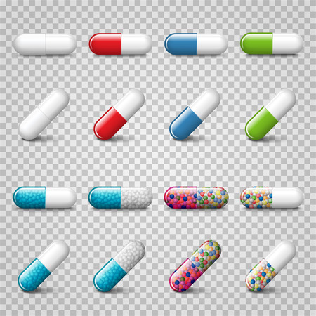 Set of vector realistic red, green, blue and color pills or capsules isolated on trasparent background. Medicines, tablets, drug of painkillers, antibiotics, vitamins. Vettoriali