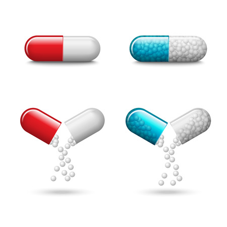 Set of vector realistic red and blue pills or capsules isolated on white background. Small balls pouring from an open medical capsule. Medicines, tablets, drug of painkillers, antibiotics, vitamins.