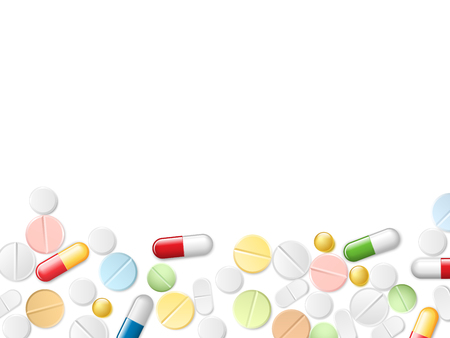Medicine Pills Border Background. The scattered color realistic pills and capsules from the bottom and place for the text banner. Vector Design Archivio Fotografico