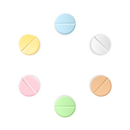 Set of six vector realistic pills located around isolated on transparent background. Medicines, tablets, capsules, drug of painkillers, antibiotics, vitamins. 写真素材