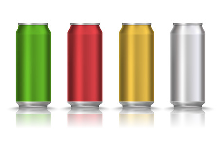 Realistic Green, red, yellow and white beer can or tin with drink isolated on a white background. Vector illustration. Mock up template blank for product packing advertisement. 스톡 콘텐츠