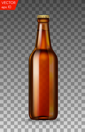 Realistic brown glass beer bottles with drink isolated on a transparent background. Vector illustration. Template blank for product packing advertisement.