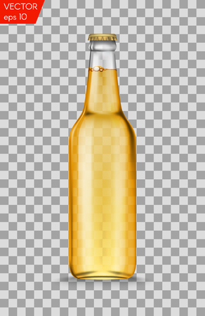 Realistic white glass beer bottles with drink isolated on a transparent background. Vector illustration. Template blank for product packing advertisement.