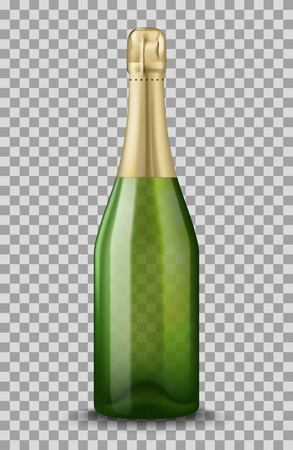 Vector Realistic green with gold closed Champagne bottle isolated on transparent background. Mockup template blank for product packing advertisement.