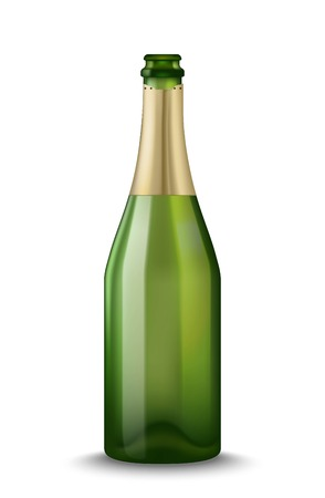 Realistic Green Champagne bottle isolated on white background. Mockup template blank for product packing advertisement.