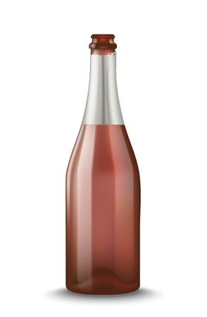 Vector Realistic pink with silver open Champagne bottle isolated on white background. Mockup template blank for product packing advertisement.
