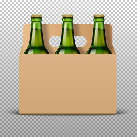 Realistic detailed green glass beer bottles with drink in craft packaging isolated on a trasparent background. Vettoriali