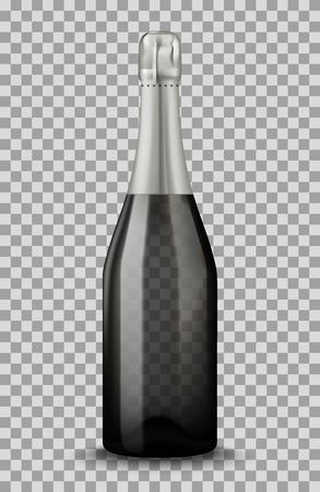 Realistic black Champagne bottle isolated on transparent background. Mockup template blank for product packing advertisement. Illustration