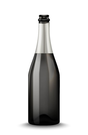 Realistic black Champagne bottle isolated on white background. Mockup template blank for product packing advertisement.