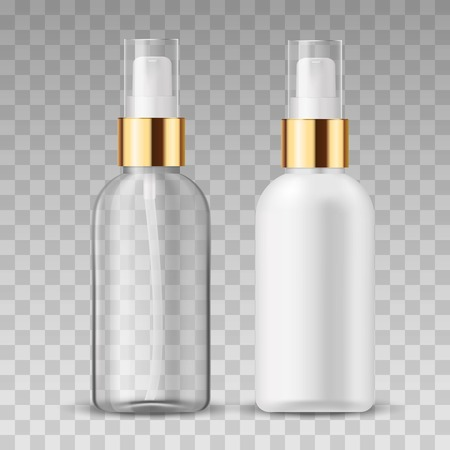 Vector 3D Realistic beauty care cosmetic product. Plastic white and tranparent container of spray bottle for lotion, tonic, gel, shampoo, cream.