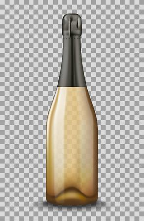 Realistic gold Champagne bottle isolated on transparent background. Mockup template blank for product packing advertisement.