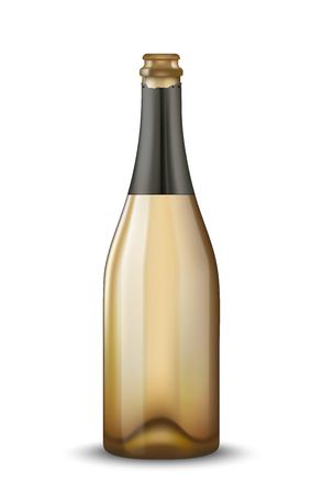 Vector Realistic gold with black open Champagne bottle isolated on white background. Mockup template blank for product packing advertisement.