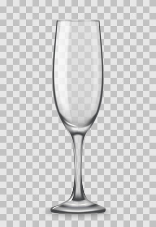 Vector Realistic champagne glasses isolated on transparent background. Mockup template blank for product packing advertisement.