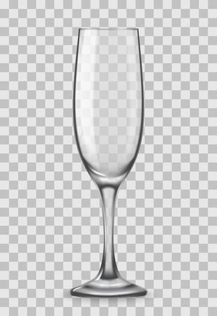 Vector realistische champagneglazen geïsoleerd op transparante achtergrond. Mockup-sjabloon leeg voor advertentie voor productverpakking.