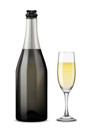 Realistic black with silver open Champagne bottle and glasses with sparkling white wine isolated on white background. Illustration
