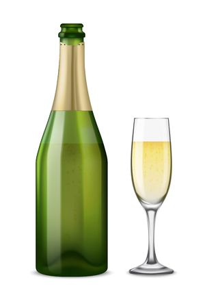 Realistic green with gold open Champagne bottle and glasses with sparkling white wine isolated on white background.