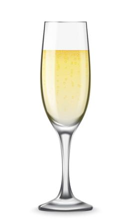 Realistic champagne glasses with white wine isolated on white background. Mockup template blank for product packing advertisement.