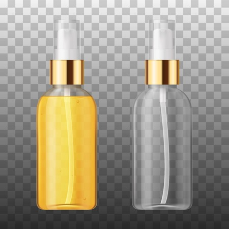 Vector Realistic beauty care cosmetic product. Plastic white and tranparent container of spray bottle for lotion, tonic, gel, shampoo, cream. Illustration