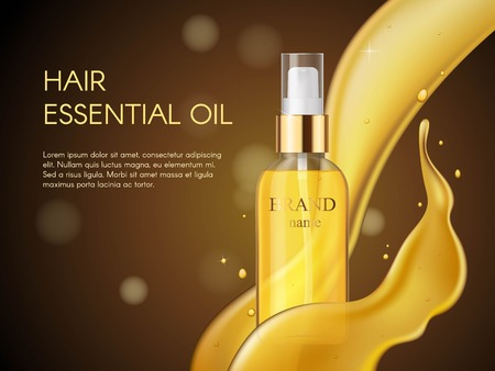 Vector 3D Realistic beauty hair care protection cosmetic product. Golden hair oil container of spray bottle.