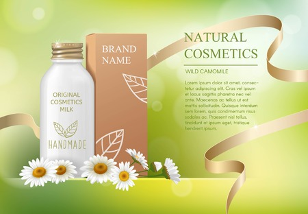Chamomile daisy natural herbal cosmetic ads template skin care mockup with realistic glass bottle with twisting cover for liquid gel, soap, lotion, cream, shampoo, bath foam on green bokeh background. Illustration