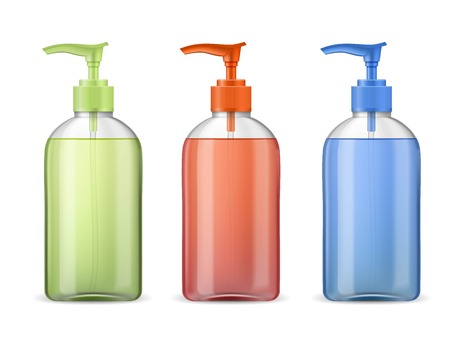 Ads template mockup realistic plastic bottle with dispenser pump, three full container with green, red and blue transparent liquid gel, soap, lotion, cream, shampoo, bath foam. Illustration