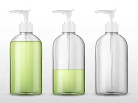 Ads template skin care mockup realistic plastic bottle with dispenser airless pump, full and empty container with transparent liquid gel, soap, lotion, cream, shampoo, bath foam