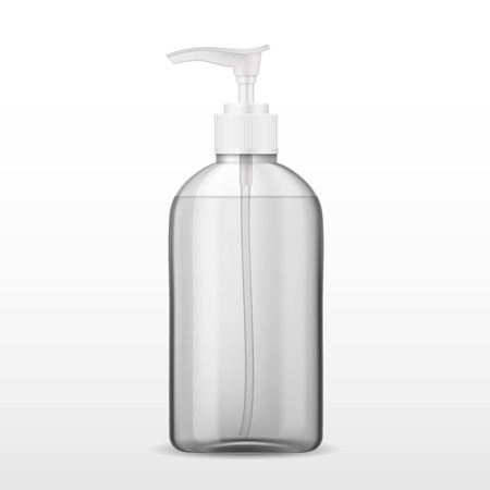 Ads template, blank skin care mockup with realistic plastic bottle with dispenser airless pump. Pharmaceutical container with transparent liquid gel, soap, lotion, cream, shampoo, bath foam.