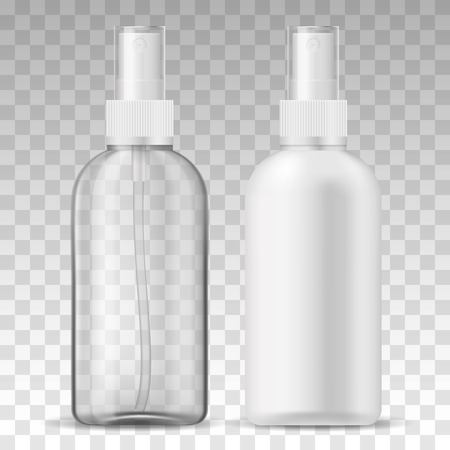 Ads template mockup two realistic plastic sprayer bottle transparent and white for liquid gel, soap, lotion, cream, shampoo, bath foam and other cosmetics.