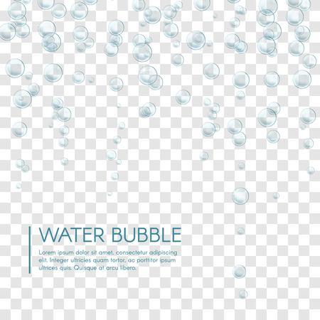 Underwater air bubbles foam on transparent background. Fizzy sparkles in water, sea, aquarium, ocean.