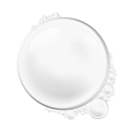 Vector isolated Soap Water bubbles and foam. Transparent Realistic Design Elements on white background.