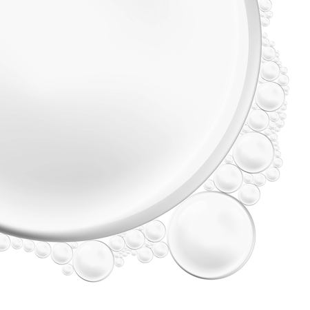 Banner vector isolated Soap Water bubbles and foam. Transparent Realistic Design Elements on white background.