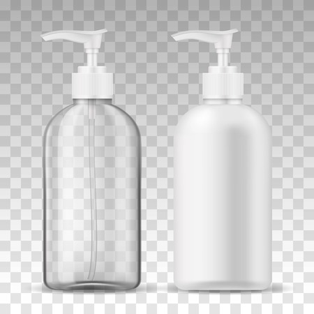 Ads template mockup two realistic plastic bottles with dispenser airless pump transparent and white for liquid gel, soap, lotion, cream, shampoo, bath foam and other cosmetics