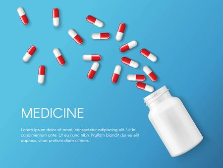 Vector realistic pills and capsules banner.drug of painkillers and small bottle. Health care medical and vector illustration. Illustration