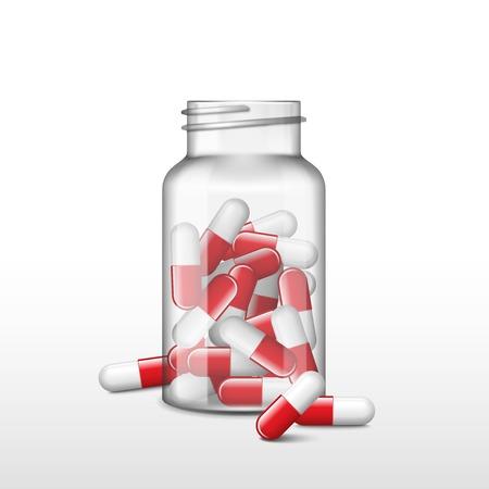 Scatola o bottiglia di medicina trasparente aperta con capsule rosse. Archivio Fotografico - 97116558