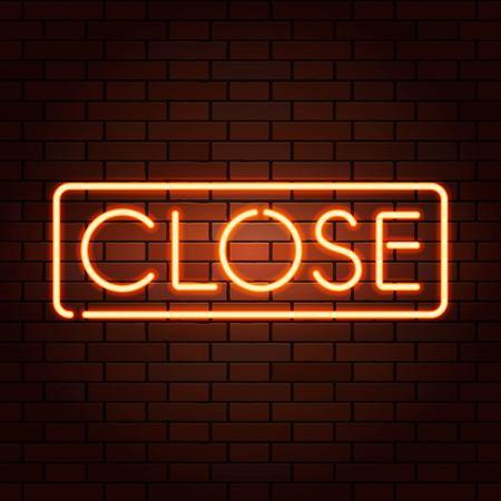赤ベクトルネオンライトはCLOSEに署名します。リアルなレンガの壁に透明なイラスト。 写真素材 - 97200265