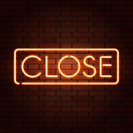 Red vector neon lights signs CLOSE. Illustration transparent on realistic brick wall. Illustration