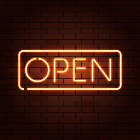 Red vector neon lights uppercase signs OPEN. Illustration transparent on realistic brick wall.