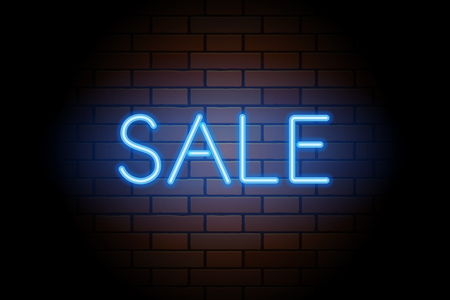 Blue vector neon lights uppercase signs SALE. Illustration transparent on realistic brick wall. Vettoriali